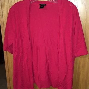 Ann Taylor red shirt sleeve cardigan
